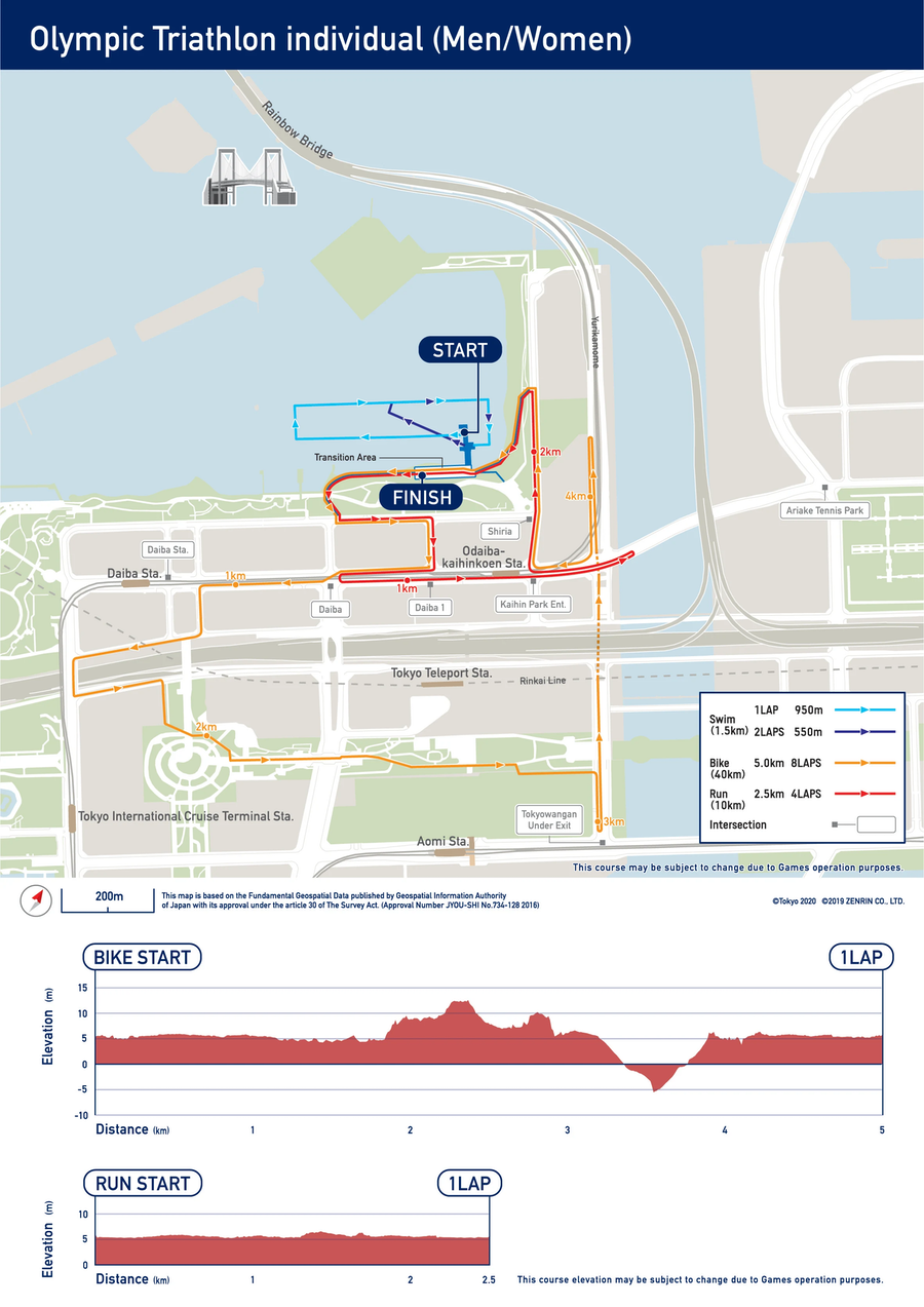 Olympic Individual Triathlon Course Map