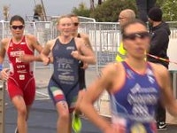 It was a day of firsts in the women's race as the top two ladies to cross the finish line stood atop their first World Cup race in Cagliari, Italy on Sunday. Great Britain's India Lee joined the illustrious history of strong triathletes when she executed an expertly timed break on the bike to spin her way to the win.