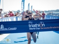 Proving that they are not just strong triathletes, but strong duathletes as well, USA's Renee Tomlin and France's Vincent Luis dominated their way to victory at the 2018 Sarasota-Bradenton ITU World Cup.After the race format was changed to a Duathlon, the elites showcased their talents out of the water in the second edition of the event and only World Cup race held in the United States.