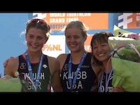 In a dominating performance showcasing once again her power on the bike, USA's Taylor Knibb claimed a repeat junior women's title at the 2017 ITU World Triathlon Grand Final Rotterdam