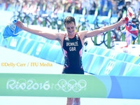 Alistair Brownlee becomes the first triathlete to defend the Olympic crown